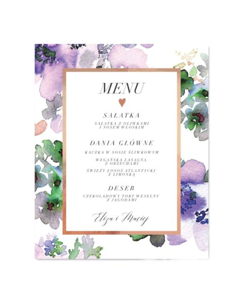 menu weselne Romantic Anemones