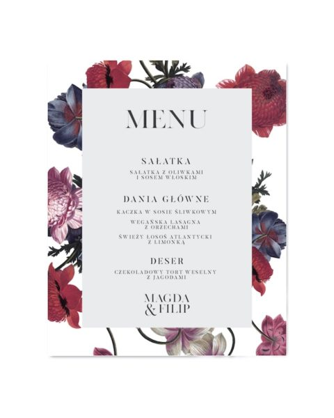 menu weselne vintage poppies